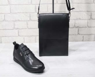 Комплект мъжки обувки и чанта черен естествена кожа LVGS-24692