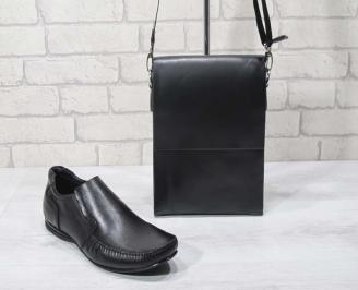 Комплект мъжки обувки и чанта черен естествена кожа EVTI-24693