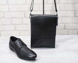 Комплект мъжки обувки и чанта черен естествена кожа DQLJ-24694