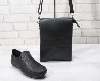Комплект мъжки обувки и чанта черен естествена кожа CCFO-24695