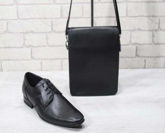 Комплект мъжки обувки и чанта черен естествена кожа DVWV-24700