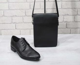 Комплект мъжки обувки и чанта черен естествена кожа SGTS-24701