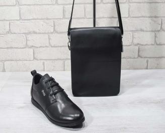 Комплект мъжки обувки и чанта черен естествена кожа ORZA-24703