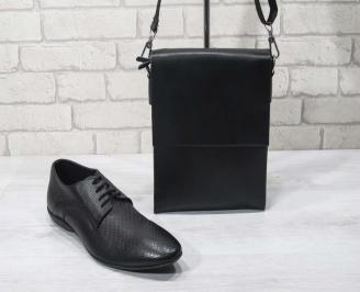 Комплект мъжки обувки и чанта черен естествена кожа AVUY-24704