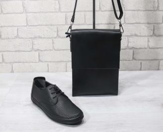 Комплект мъжки обувки и чанта черен естествена кожа RDVR-24705