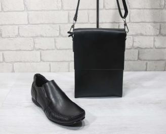 Комплект мъжки обувки и чанта черен естествена кожа SCJC-24706