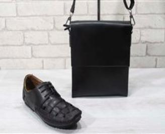 Комплект мъжки обувки и чанта черен естествена кожа URQC-24707