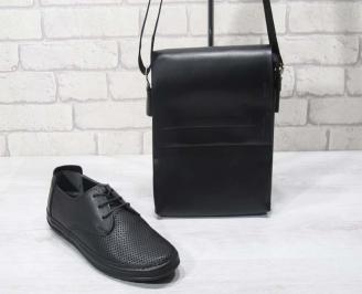 Комплект мъжки обувки и чанта черен естествена кожа NBOA-24708