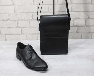 Комплект мъжки обувки и чанта черен естествена кожа CRTE-24709