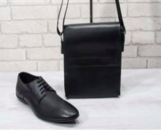 Комплект мъжки обувки и чанта черен естествена кожа GZBV-24710