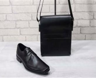 Комплект мъжки обувки и чанта черен естествена кожа EHPL-24712