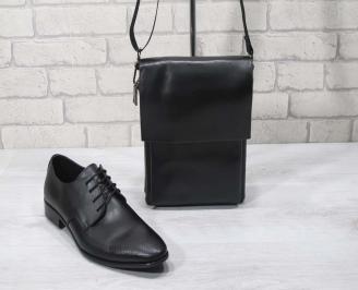 Комплект мъжки обувки и чанта черен естествена кожа VMZN-24713