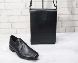 Комплект мъжки обувки и чанта черен естествена кожа BUXD-24717