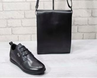 Комплект мъжки обувки и чанта черен естествена кожа BSLO-24719