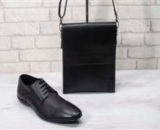 Комплект мъжки обувки и чанта черен естествена кожа XMJE-24721