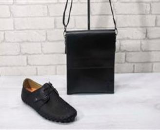 Комплект мъжки обувки и чанта черен естествена кожа QBET-24722