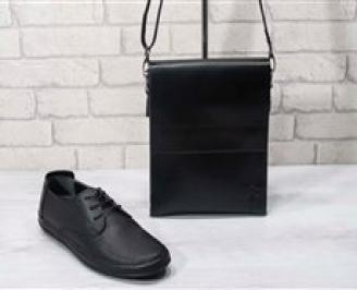 Комплект мъжки обувки и чанта черен естествена кожа YVVM-24723