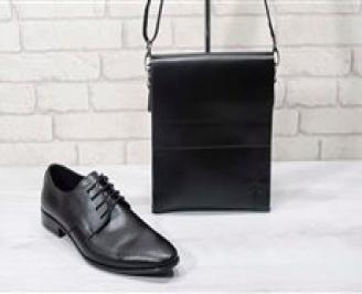 Комплект мъжки обувки и чанта черен естествена кожа ZLFQ-24724