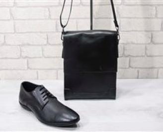 Комплект мъжки обувки и чанта черен естествена кожа NFPQ-24725