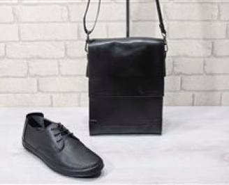 Комплект мъжки обувки и чанта черен естествена кожа ZCIL-24726