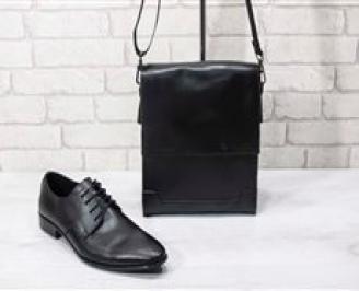 Комплект мъжки обувки и чанта черен естествена кожа FZFX-24727