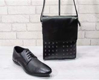 Комплект мъжки обувки и чанта черен естествена кожа JRUJ-24729