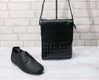 Комплект мъжки обувки и чанта черен естествена кожа ICTE-24730