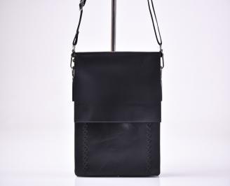 Мъжка чанта черна естествена кожа ZBTF-1012633