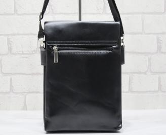 Мъжка чанта черна естествена кожа WFTV-23708
