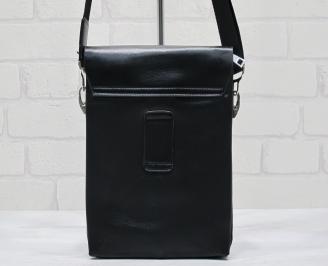 Мъжка чанта черна естествена кожа IPWK-23712