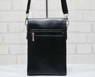 Мъжка чанта черна естествена кожа HUZN-23715