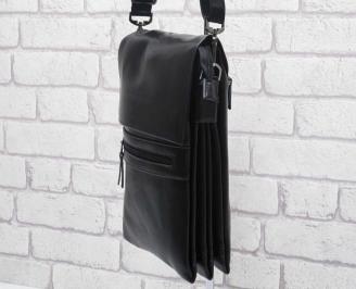 Мъжка чанта черна естествена кожа EFAA-24587