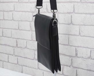 Мъжка чанта черна естествена кожа DJJH-24589