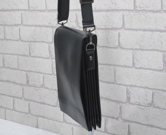 Мъжка чанта черна естествена кожа WIRA-24590
