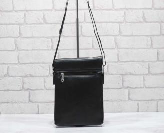 Мъжка чанта черна естествена кожа EPRT-24593
