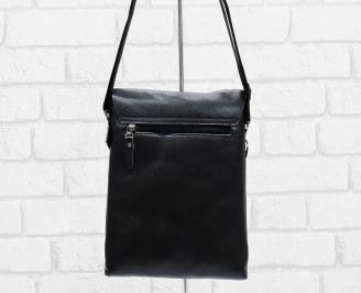Мъжка чанта черна естествена кожа HNIP-26474