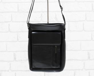 Мъжка чанта черна естествена кожа KZNM-26475