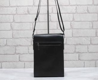 Мъжка чанта черна естествена кожа VCZT-26479