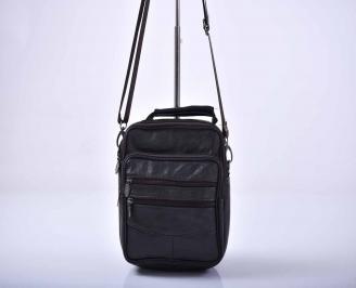 Мъжка чанта естествена кожа черна   GQKR-1015563