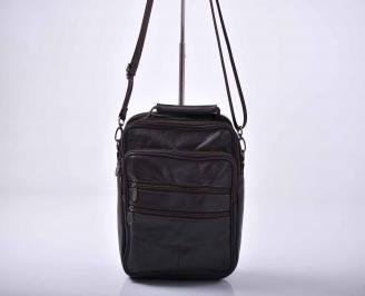 Мъжка чанта естествена кожа черна   GUNP-1015564