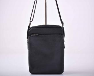 Мъжка чанта естествена кожа черна   IBUE-1015578