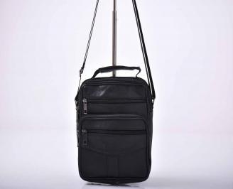 Мъжка чанта естествена кожа черна   FNQL-1015586