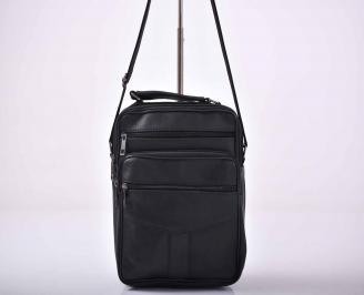 Мъжка чанта естествена кожа черна   FJAM-1015588