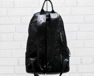 Мъжка  раница еко кожа/текстил черна BLEE-26466