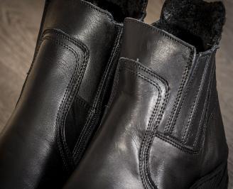 Мъжки боти черни естествена кожа ZEUY-22701
