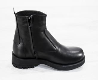 Мъжки  боти естествена кожа черни JCBQ-25617