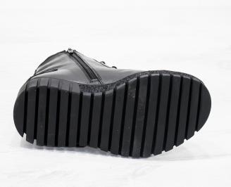 Мъжки  боти естествена кожа черни UMDU-25620
