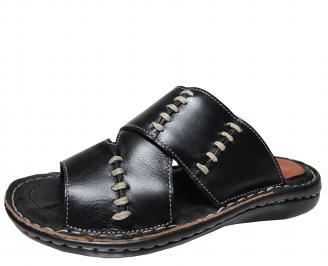 Мъжки чехли черни естествена кожа AZON-19151