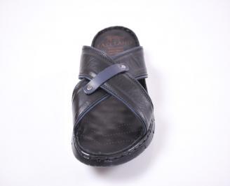 Мъжки чехли естествена кожа черни RJTG-1012654