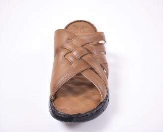Мъжки чехли естествена кожа кафяви FBBE-1012657
